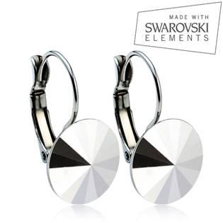 Oceľové náušnice RIVOLI 12 mm, SWAROVSKI® Elements , Crystal CAL