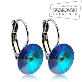 Oceľové náušnice RIVOLI 12 mm, SWAROVSKI® Elements , Bermuda blue