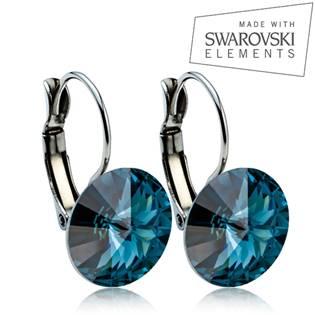 Oceľové náušnice RIVOLI 12 mm, SWAROVSKI® Elements , Montana blue