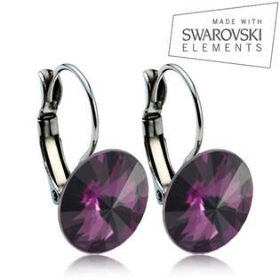 Oceľové náušnice RIVOLI 12 mm, SWAROVSKI® Elements , Amethyst