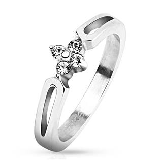 Zásnubní ocelový prsten se zirkony OPR1550