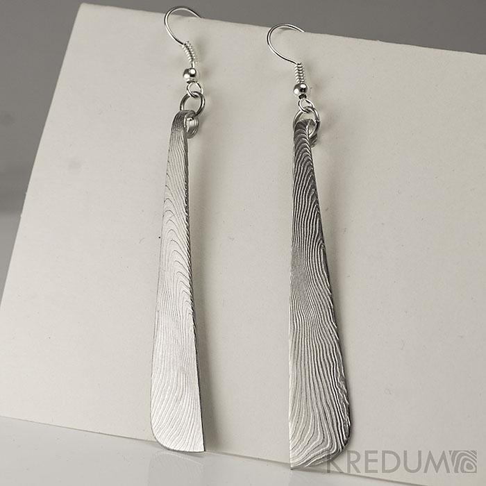 Kované náušnice z ocele damasteel - Nokturno long