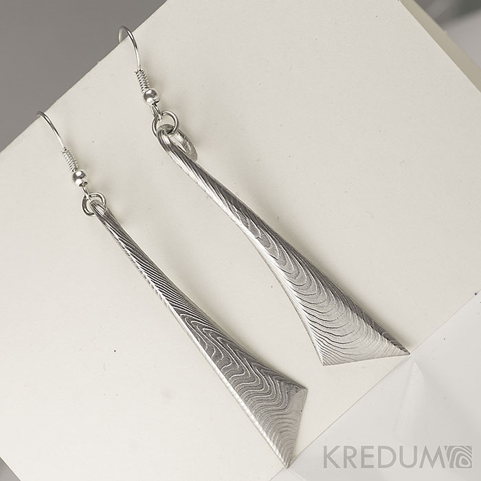 Kované náušnice z ocele damasteel - Triana - Long