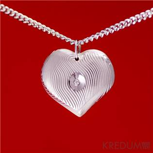 Kovaný damasteel přívěsek - Srdíčko a diamant 1,5mm