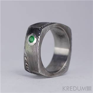 Kovaný prsteň Damasteel - Smaragd 2,8 mm
