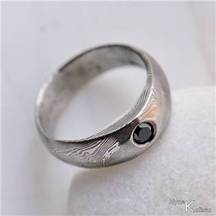Kovaný prsteň Damasteel diamant 2,7 mm - Siona čierna