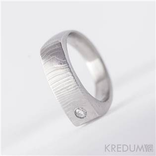 Kovaný prsteň Damasteel diamant 2,0 mm - Čistí