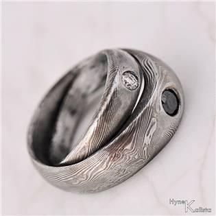 Kovaný prsteň Damasteel diamant 3,0 mm - Siona biela