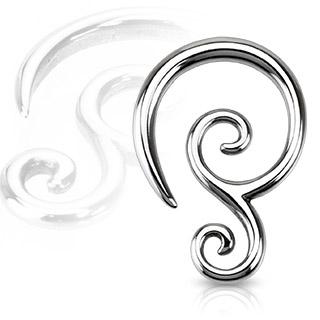 Oceľový rozťahovák do ucha špirála