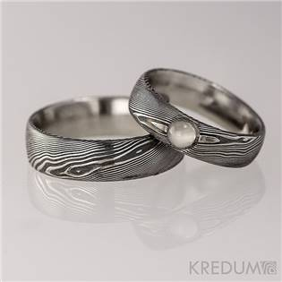 Dámsky kovaný prsteň Damasteel Prima s polodrahokamom
