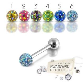 Piercing do jazyka - Swarovski ® Elements