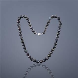 Perlový náhrdelník Buka Mutiara - čierne perly, dĺžka 40 cm
