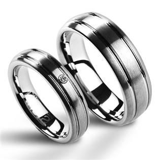 Dámsky snubný prsteň volfrám - diamant, šírka 5 mm, veľ. 50