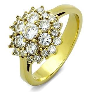 Pozlátený oceľový prsteň so zirkónmi
