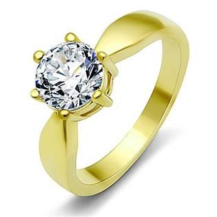 Pozlátený oceľový prsteň so zirkónom