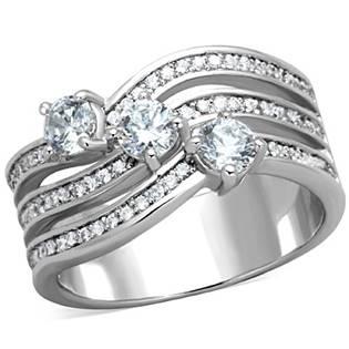 Trojitý oceľový prsteň s čírymi zirkónmi
