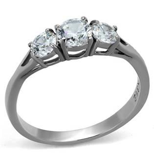 Oceľový prsteň s 3-mi čírymi zirkónmi
