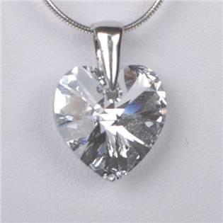 Strieborný prívesok srdce SWAROVSKI® Elements, Crystal