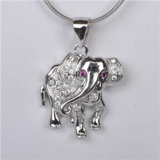 Strieborný prívesok slon so zirkónmi