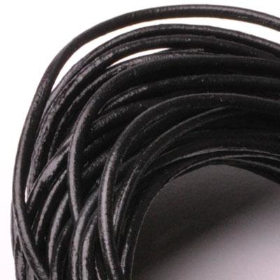 Kožená šnúrka okrúhla čierna, hr. 2 mm