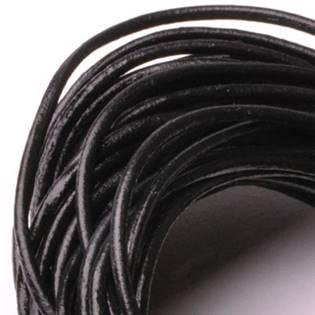 Kožená šňůrka kulatá černá, tl. 2 mm