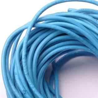 Kožená šňůrka kulatá světle modrá, tl. 2 mm