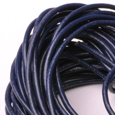 Kožená šnúrka guľatá fialovo modrá, hr. 2 mm