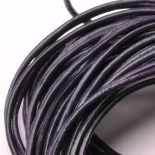 Levně Kožená šňůrka kulatá tmavě fialová, tl. 2 mm - LR2028