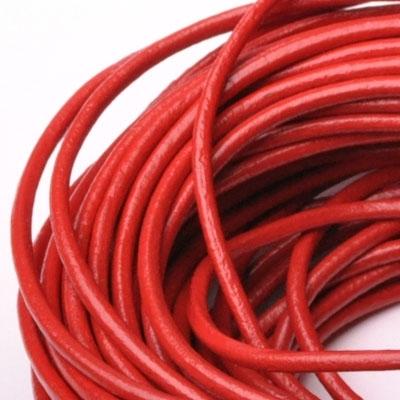 Kožená šnúrka guľatá červená, hr. 2 mm