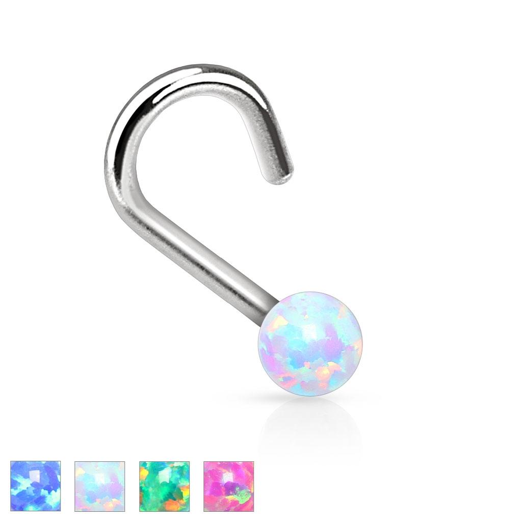 Zahnutý piercing do nosa opál