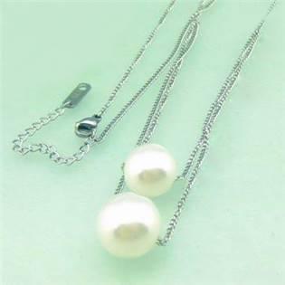 Oceľový náhrdelník s perličkami