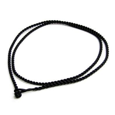Hodvábna krútená šnúrka na krk čierna, hr. 2 mm