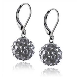 Ocelové náušnice kuličky - šedé krystaly