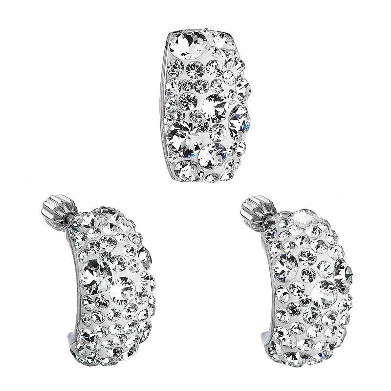 Stříbrný set náušnic a přívěšku s krystaly Crystals from Swarovski®, Crystal