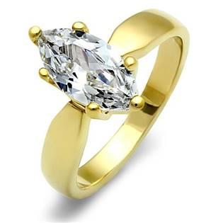 Pozlátený oceľový prsteň - mašlička so zirkónom