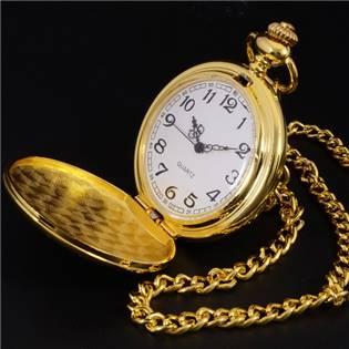 Vreckové hodinky otváracie pozlátené - cibuľa