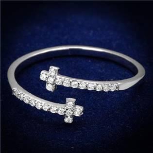 Strieborný prsteň s krížikmi