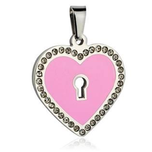Ocelový přívěšek - srdce růžové