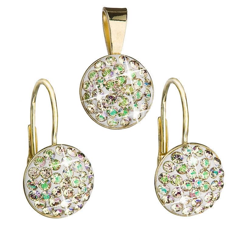 Strieborný set náušníc a prívesku s kryštálmi Crystals from Swarovski ®, Luminous Green
