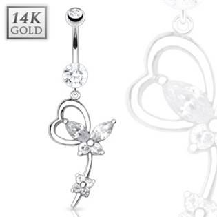 Zlatý piercing do pupíku zdobený motýlkem, Au 585/1000
