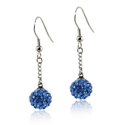 Oceľové náušnice guličky - modré kryštály