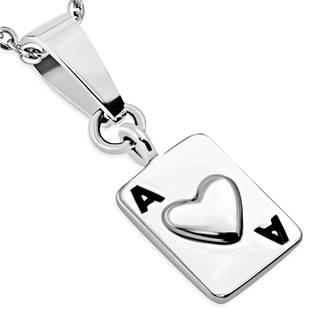 Oceľový prívesok - hracia karta, srdcová