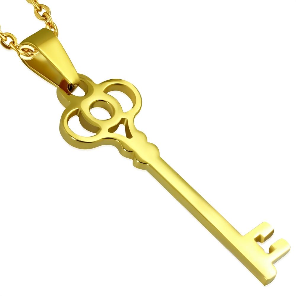 Pozlátený oceľový prívesok - kľúč