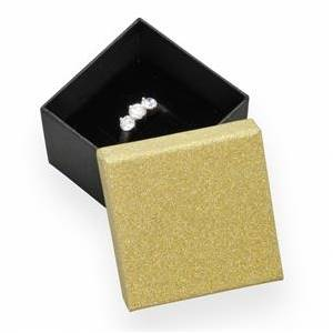 KR0055-GD Dárková krabička na prsten zlatá/černá