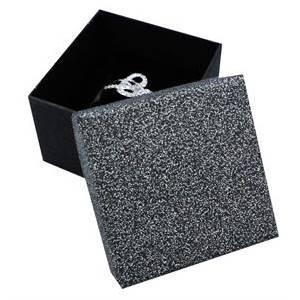 Darčeková krabička na prsteň striebristo šedá / čierna