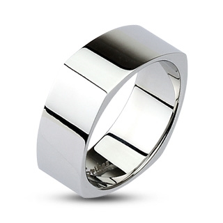 Hranatý ocelový prsten lesklý, šíře 8 mm