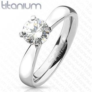 Zásnubný prsteň titánový so zirkónom, veľ. 50