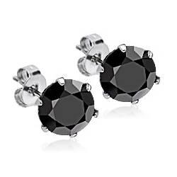 Ocelové náušnice - černé zirkony 6 mm
