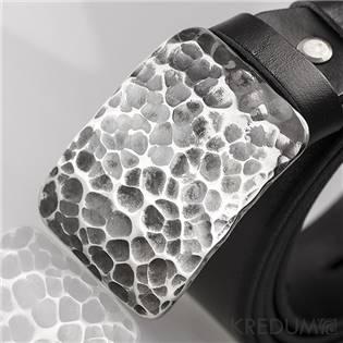 Kožený opasok - kovaná nerezová spona - Majster 4X Draill, farba čierna