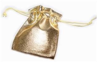 Dárkový sáček látkový zlatý 50 x 70 mm